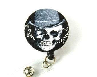 SKULL Badge Reel, Skull Lanyard, Skull with Hat Lanyard, Retractable Badge Reel, Skull Button Badge