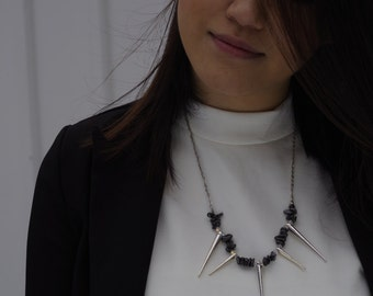 Hematite, Clear Swarovski Crystals, Spikes and White Gold Plated Chain Necklace. Edgy. Modern. Unique. Made to Order.