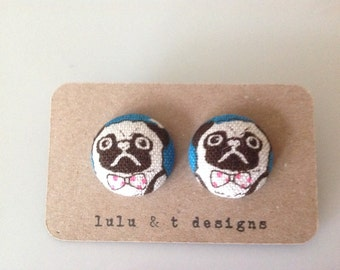 Pug Earrings - Pug Jewelry - Pug fabric covered button earrings - Perfect gift for pug owners and pug lovers