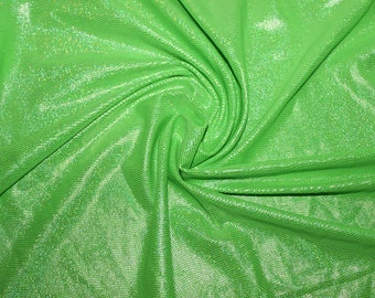 Lime Green Holographic Lycra/Spandex 4 way stretch Fabric