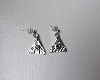 Fine silver triangle earrings
