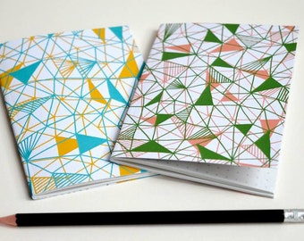 A6 Notebook, Pocket Notebook, Small Notepad, Geometric Pattern, Recycled Paper, Eco Friendly, Patterned Pages, Triangle pattern
