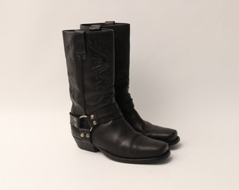 Vintage • Western Boots • Cowboy Boots • Black Leather Boots • Black Boots • Black Western Boots • Cowgirl Boots • EU 43 • US 9 • UK 8.5