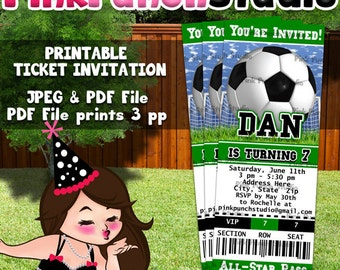 Personalized Printable Soccer Invitation Ticket Style CHOOSE YOUR COLOR