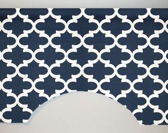 Premier Prints Flynn Arabesque Ogee Custom Valance Curtain, Navy, Lined