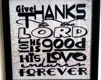 Give Thanks to the Lord Digital Download SVG Cut File, Vinyl Cutting Design, Inspirational Wall Decor File, for Digital Cutting Machines