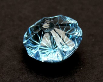 17.15 cts floral shape Blue Topaz gemstone carving flower lazer carving