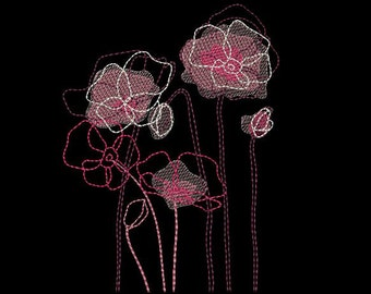 MACHINE EMBROIDERY DESIGN - Poppies