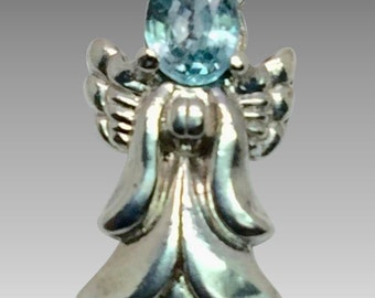 14k Blue Zircon Angel Pendant, W-Y-R