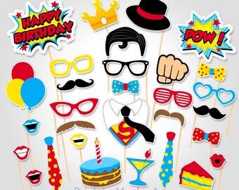 Superhero Birthday Photo Booth Props  - Superhero Superman Photobooth Prop - Birthday Photo Booth Props - Superhero Party Ideas