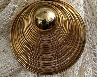 Vintage Large Gold Brooch Pin Mid Century Pin