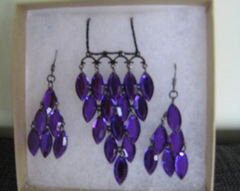 Necklace and Earrings set in Purple