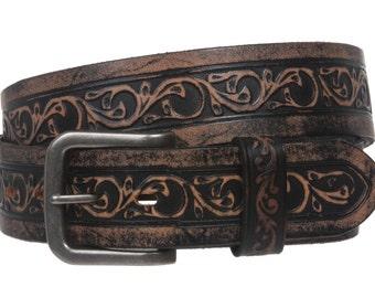 Handmade Snap On Soft Hand Floral Embossed Vintage Cowhide Full Grain Leather Casual Belt(500237)
