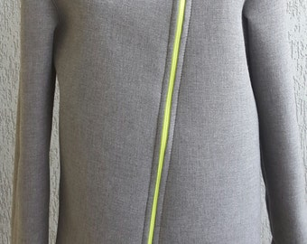 Neoprene Blazer. Grey Neoprene Blazer. Neoprene Jacket.