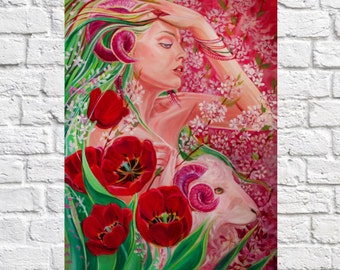 Zodiac signs. Aries.Pink.Oil.Painting.Best gift.