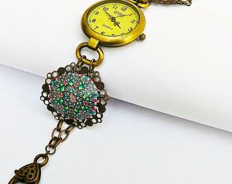 Watch wrist in brass and polymer fuchsia