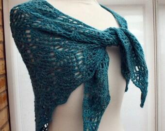Ocean blue crochet wool shawlette scarf wrap