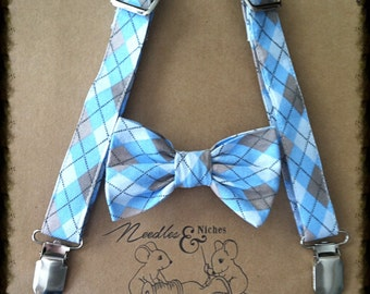 Infant bow tie and suspender set