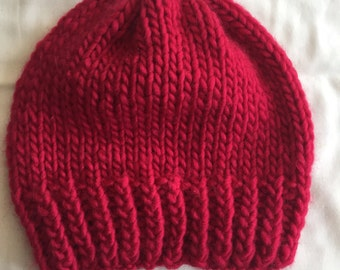 Knit Hat // Tuque // Cherry Red