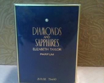 vintage Elizabeth Taylor Diamonds & Sapphires pure parfum sealed .25oz BNIB NOS