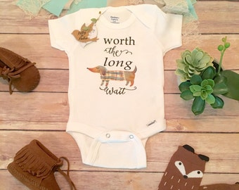 Worth the Wait Onesie®, Pregnancy Reveal, Pregnancy Announcement, Unisex Baby Clothes, Miracle Baby, IVF baby, Long Wait, Weiner Dog Onesie