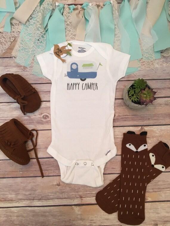 Happy Camper esie Baby Boy Clothes Baby Shower by