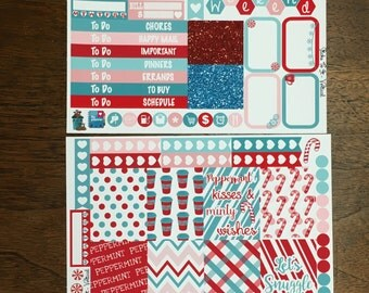 Peppermint Kisses Mini Weekly Set Horz and Vert Planner Stickers - Full Week ECLP Mambi Inkwell Press Filofax Kikki K winter Christmas coffe