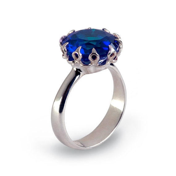 CROWN Sapphire Promise Ring for Her Sapphire Engagement Ring