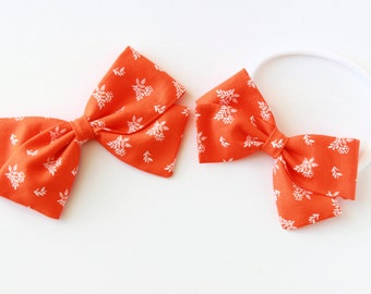 Baby Girl, Toddler, Girls Fabric Bow, Newborn, Hand tied bow- Tangerine Fern