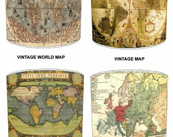 Vintage World Maps Lamp shades, To Fit Either a Table Lamp base or a Ceiling Light Fitting.
