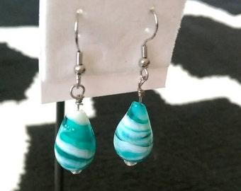 Blue marbled glass drop earrings