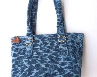 Handcrafted fabric handbag--shoulder bag--cerulean chenille fabric--boho