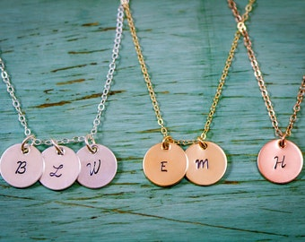 SALE - Sterling Silver Gold Rose Gold Hand Stamped Initial Necklace - Gold Initial Charms - Dainty Charm Necklace - 14K 14 Karat - Everyday