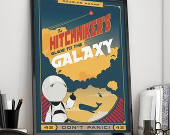 Hitchhiker's Guide to the Galaxy | Book Poster |  Unframed