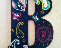 Hand painted, Wooden, Custom, Letter of your Choice, A, B, C, D, E, F, G, H, I, J, K, L, M, N, O, P, Q, R, S, T, U, V, W, X, Y, Z, Paisleys