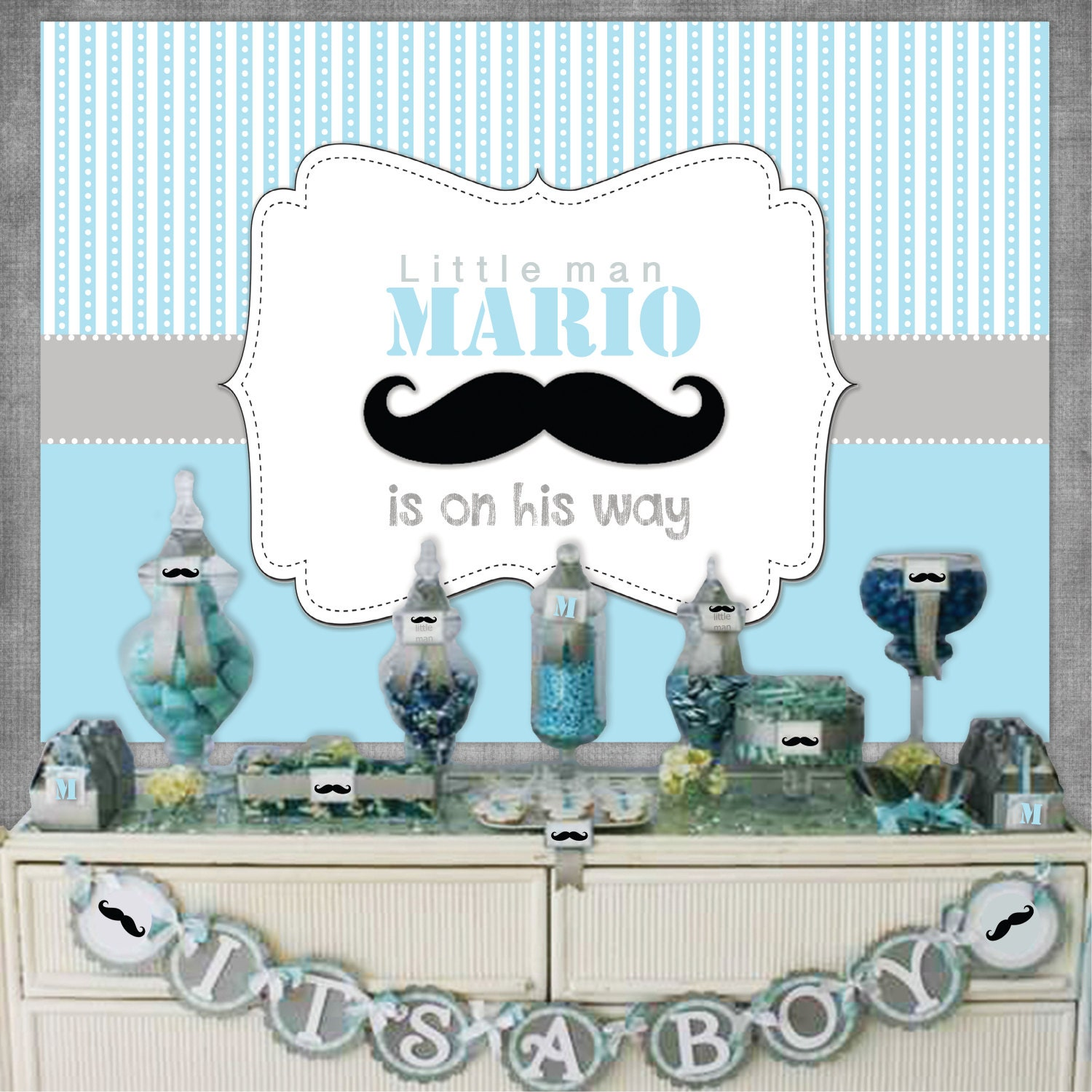 little man mustache blue gray baby shower 1st birthday