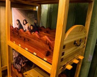 CUSTOM carved VINYL STORAGE in pine and cedar wood