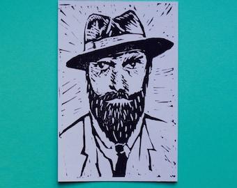 Lino Cut Postcard Print