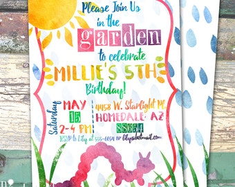 Garden Party Watercolor Personalized Birthday Printable Invitation Print at Home