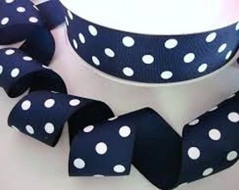 1 1/2 Grosgrain ribbon with polka dots printed