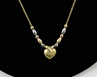 14K Yellow/White Gold  Love/Heart Necklace