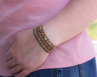 women's chic bangle bracelet,jewelry,bronze lilac colour,miyuki seed beads,twin tila bead cuff bracelet,emmsjewellery,handmade,hand woven,