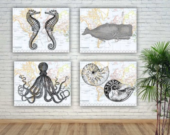Nautical Sea Life Art, Sea Creatures Prints, Seafan Nursery, Create Your  Display,