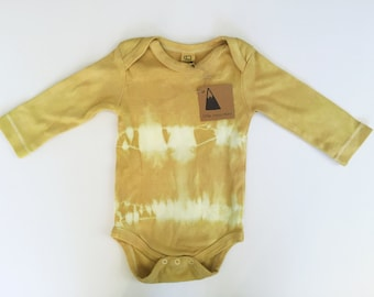 organic cotton onesie - natural dye - hand dye - tie dye - organic baby - organic baby clothing - sustainable - slow fashion