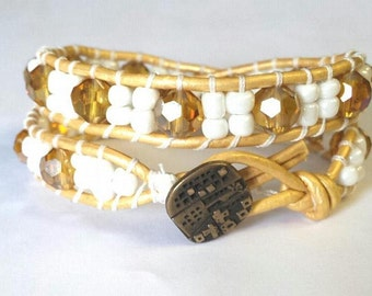 Leather Wrap Bracelet, Gold and White Beaded Leather Double Wrap Bracelet