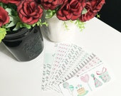 Birthday party kit Stickers - PINK AND GREEN