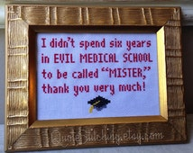 """Evil Medical School Doctor (Dr. Evil) - frameable 5""""x7"""" cross-stitch PATTERN - INSTANT DOWNLOAD .pdf"""