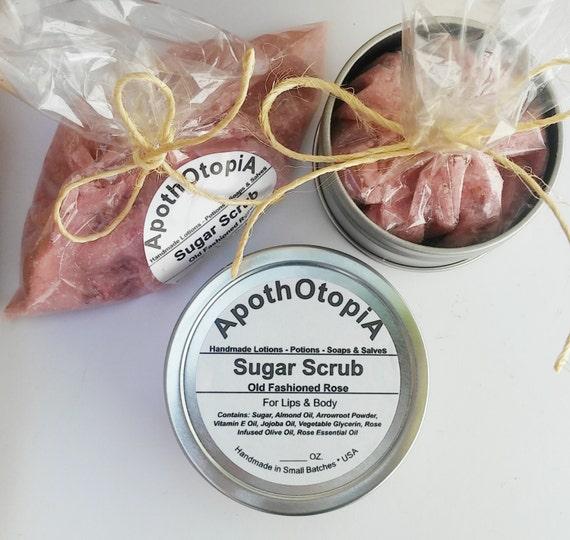 Organic Rose Petal Sugar Scrub - Eco Friendly, Exfoliating Body Polish, Face Scrub, Foot Scrub, Organic Rose, Moisturizing and Soothing