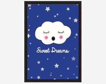Sweet Dreams, NURSERY ART print, Children's wall art, Digital PDF download