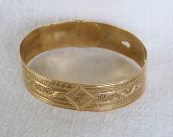 Antique Rolled Gold Plate Bracelet, Engraved, Unique Closure, ca.1880
